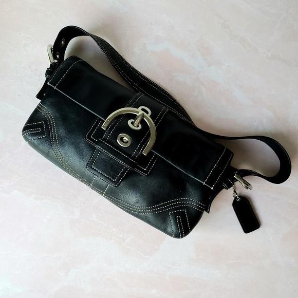 Coach Handbags - Black Rectangle Coach Bag with Stitching